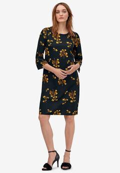 Slit-Sleeve Shift Dress by ellos®, BLACK GOLDEN FLORAL