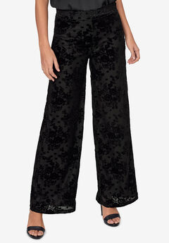 Jacquard Velvet Wide-Leg Pants by ellos®,