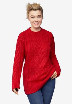 Pullover Cable Sweater Tunic,