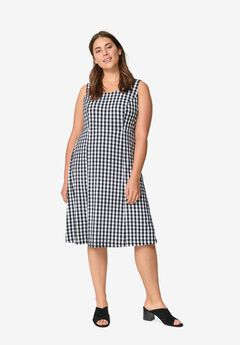 Fit and Flare Knit Dress, BLACK WHITE GINGHAM