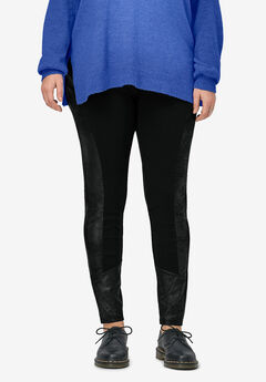 Ponte Faux Suede Leggings by ellos®,