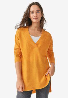 Hi-Lo V-Neck Pullover by ellos®,