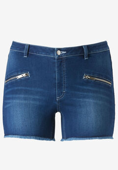 Zip Pocket Stretch Denim Shorts by ellos®,