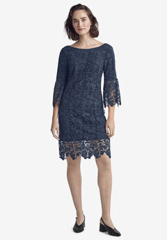 Bell Sleeve Lace Dress by ellos®, NAVY