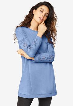 Lace Trim Sweatshirt Tunic,
