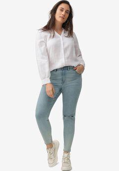 Linen Blend Button-Front Shirt, WHITE