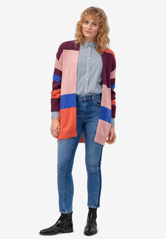 Multi-Stripe Open-Front Cardigan by ellos®,