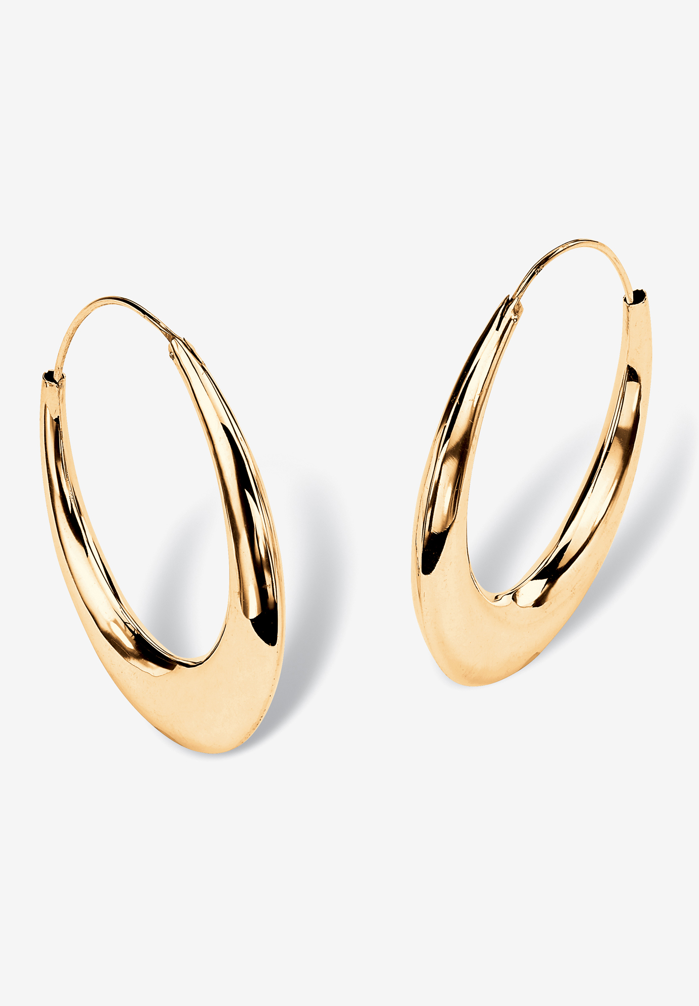 Yellow Gold over Sterling Silver Puffed Hoop Earrings (47mm), GOLD
