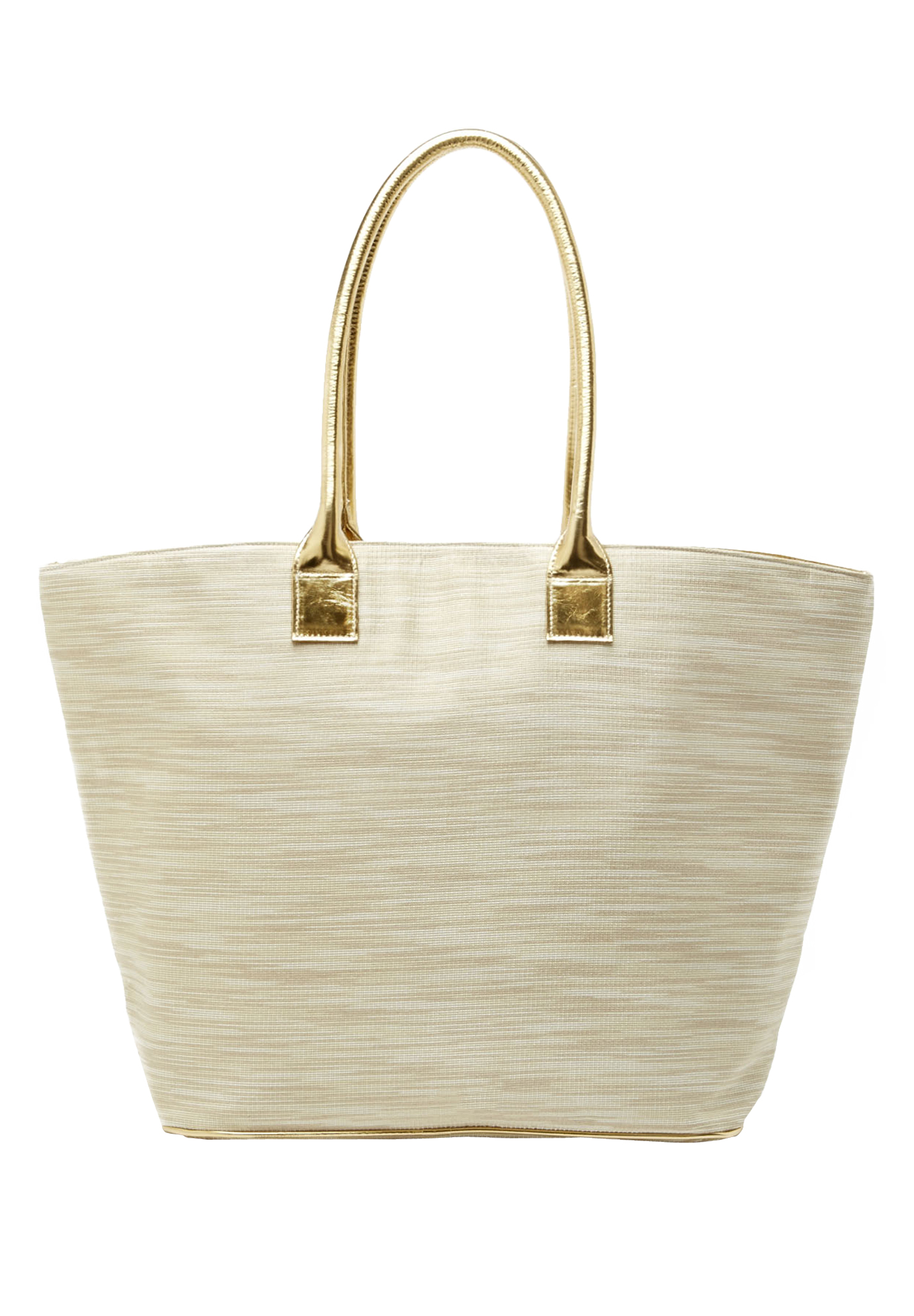 The Getaway Tote, GOLD LINEN CREAM
