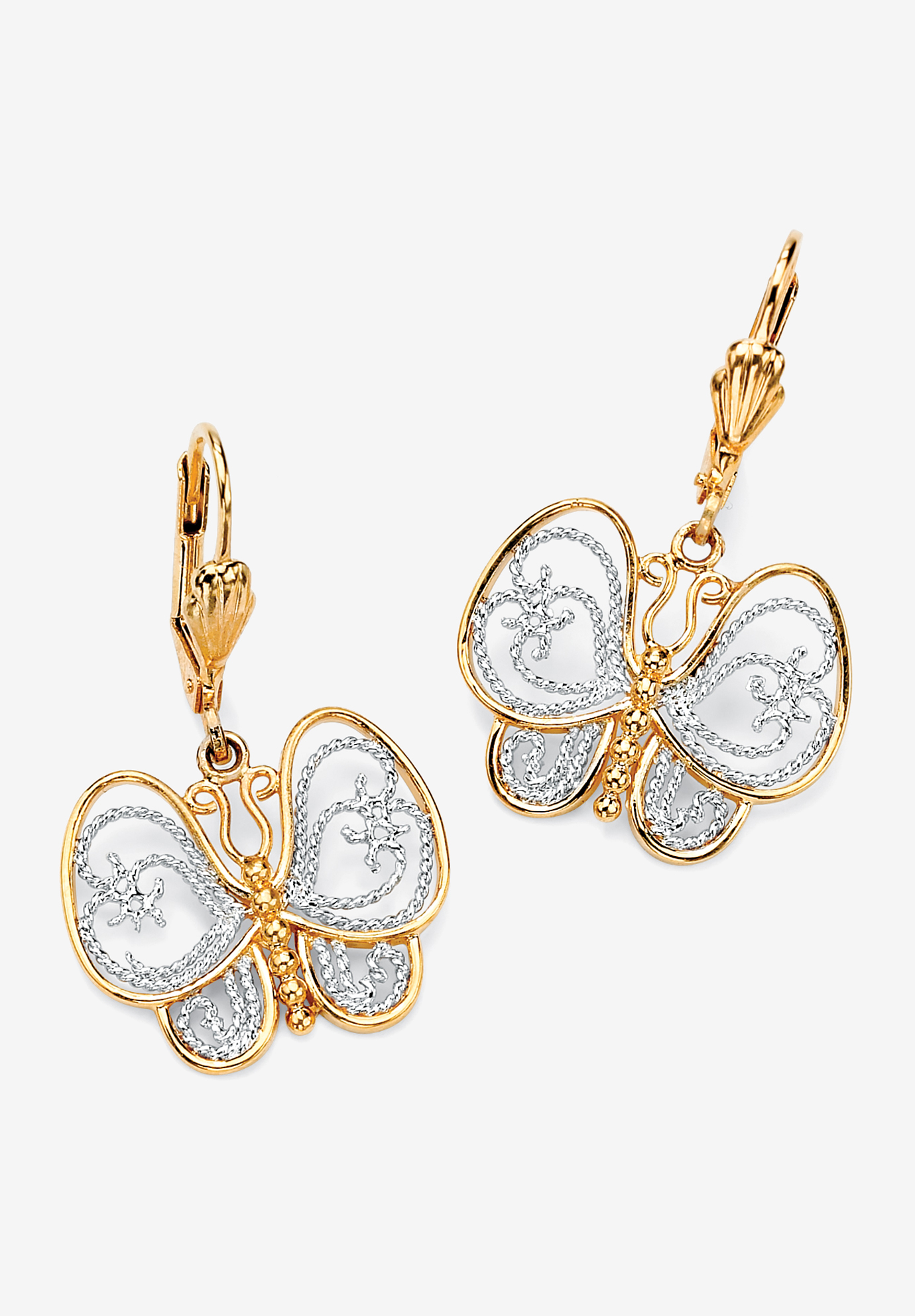 Yellow Gold-Plated Butterfly Two Tone Drop Earrings, GOLD