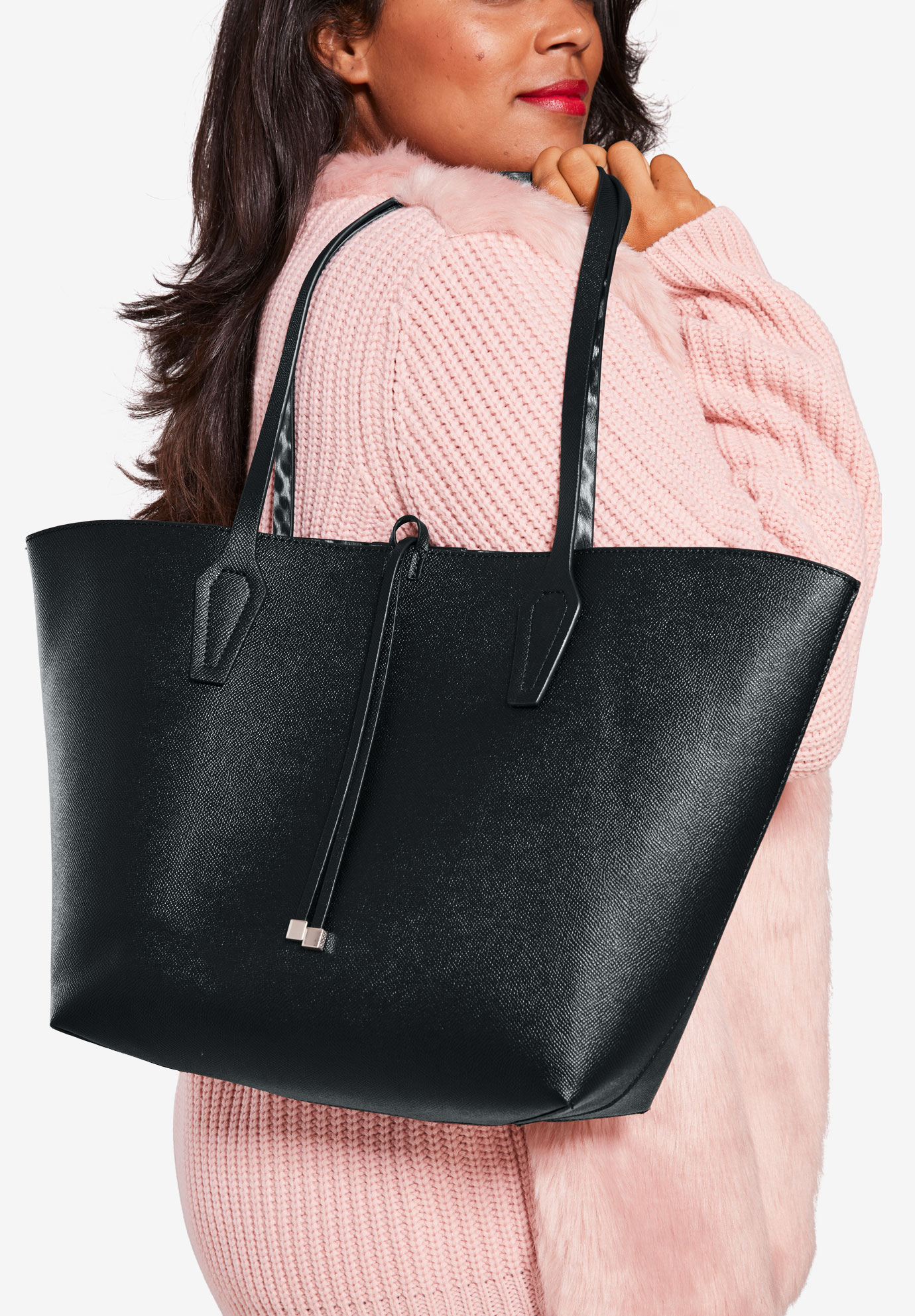 Reversible Tote Bag, BLACK