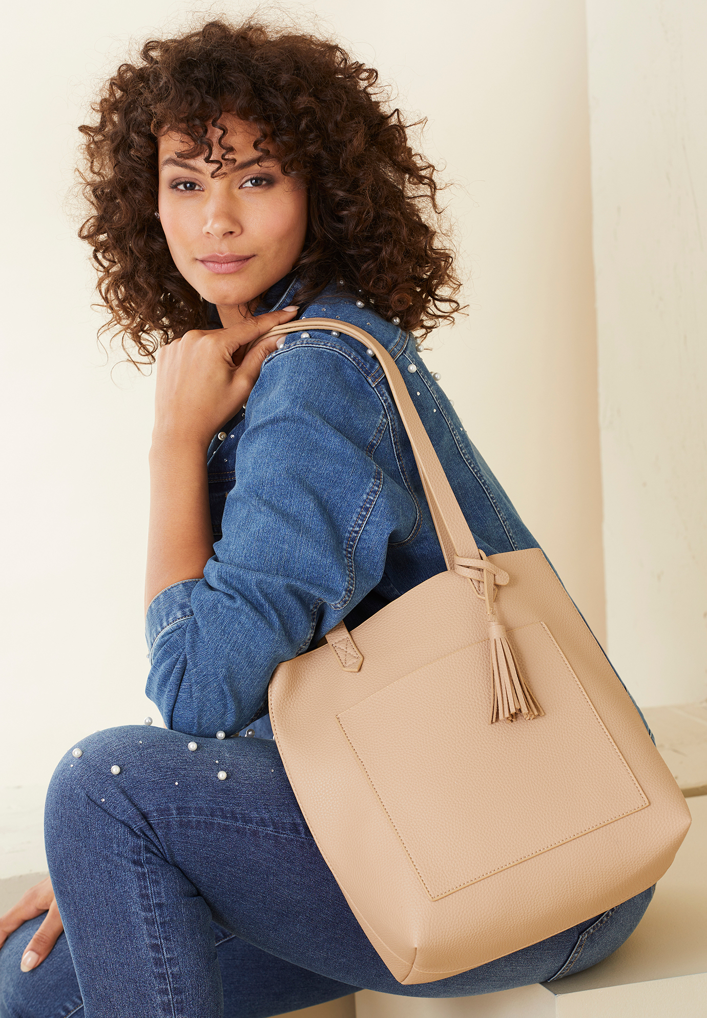 Faux-Leather Shopper Tote Bag, BEIGE