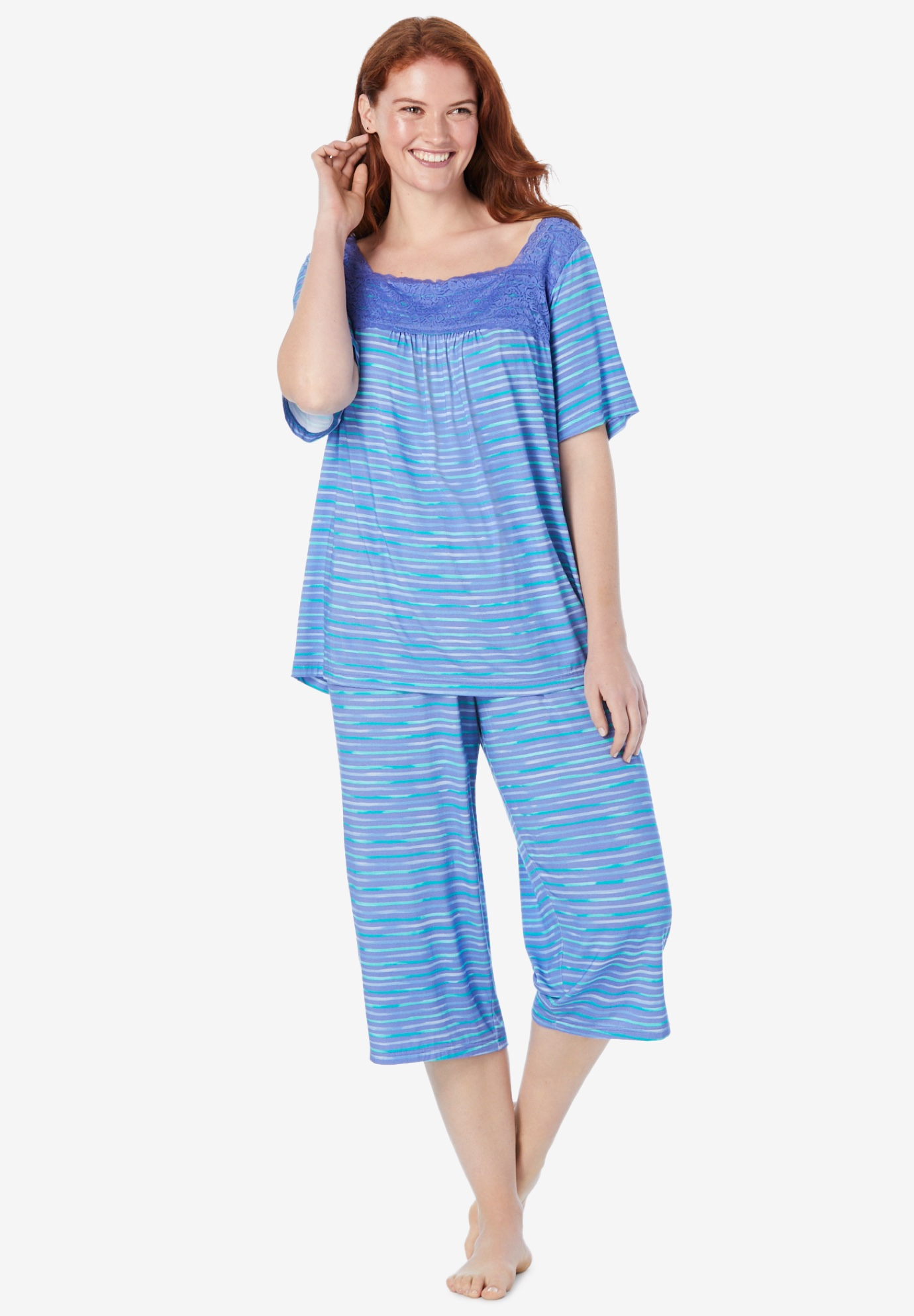 Lace-Trim capri PJ Set,