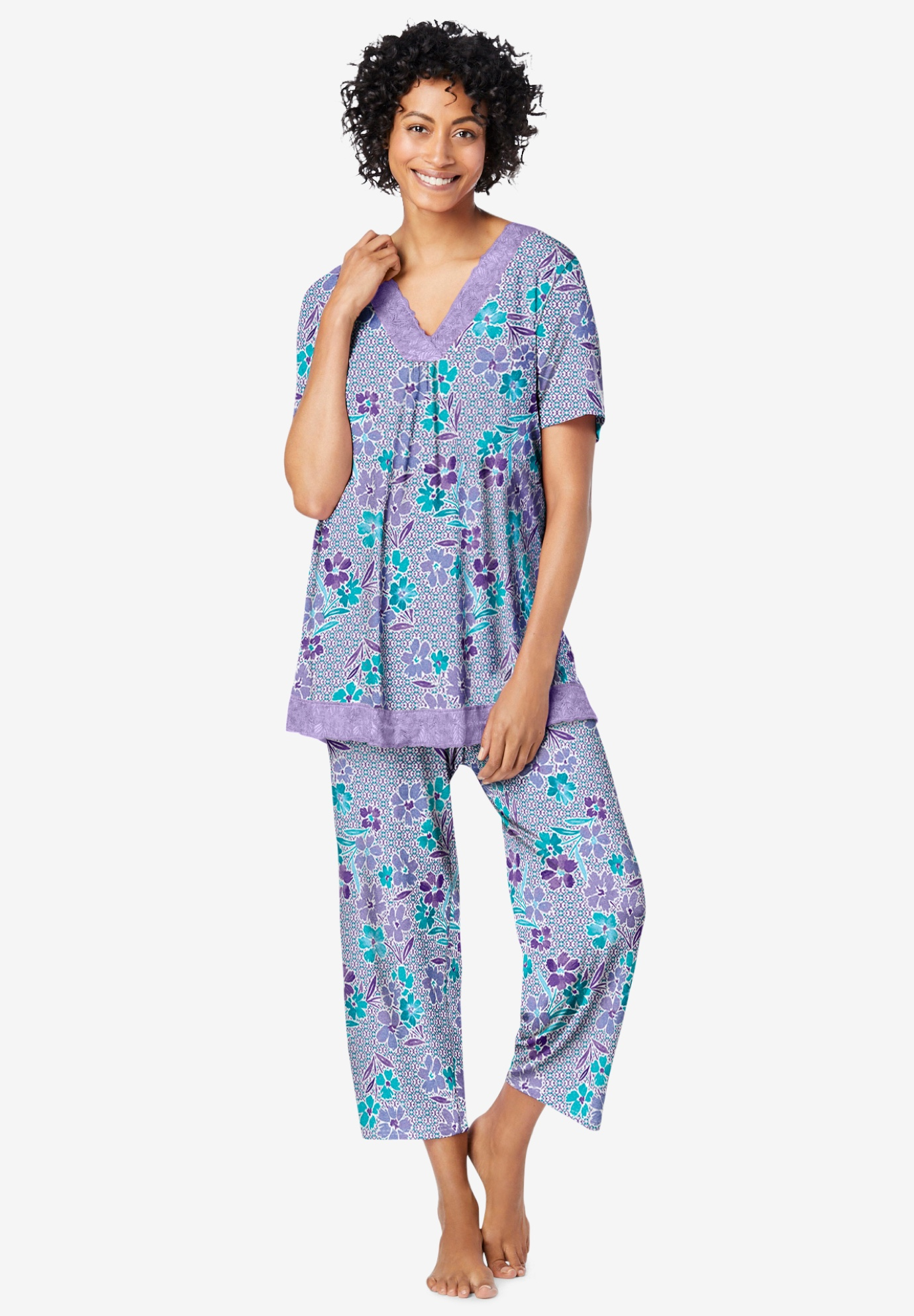 Lace-Trim Short Sleeve Pajamas,