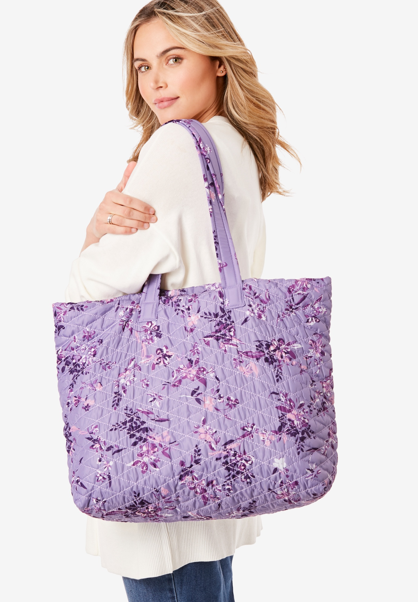 Quilted Tote Set, SOFT IRIS GRAPHIC BLOSSOM