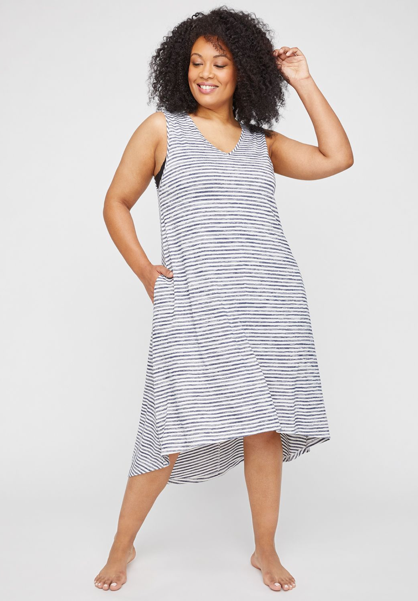 Sea Breeze High-Low Swim Cover-Up,