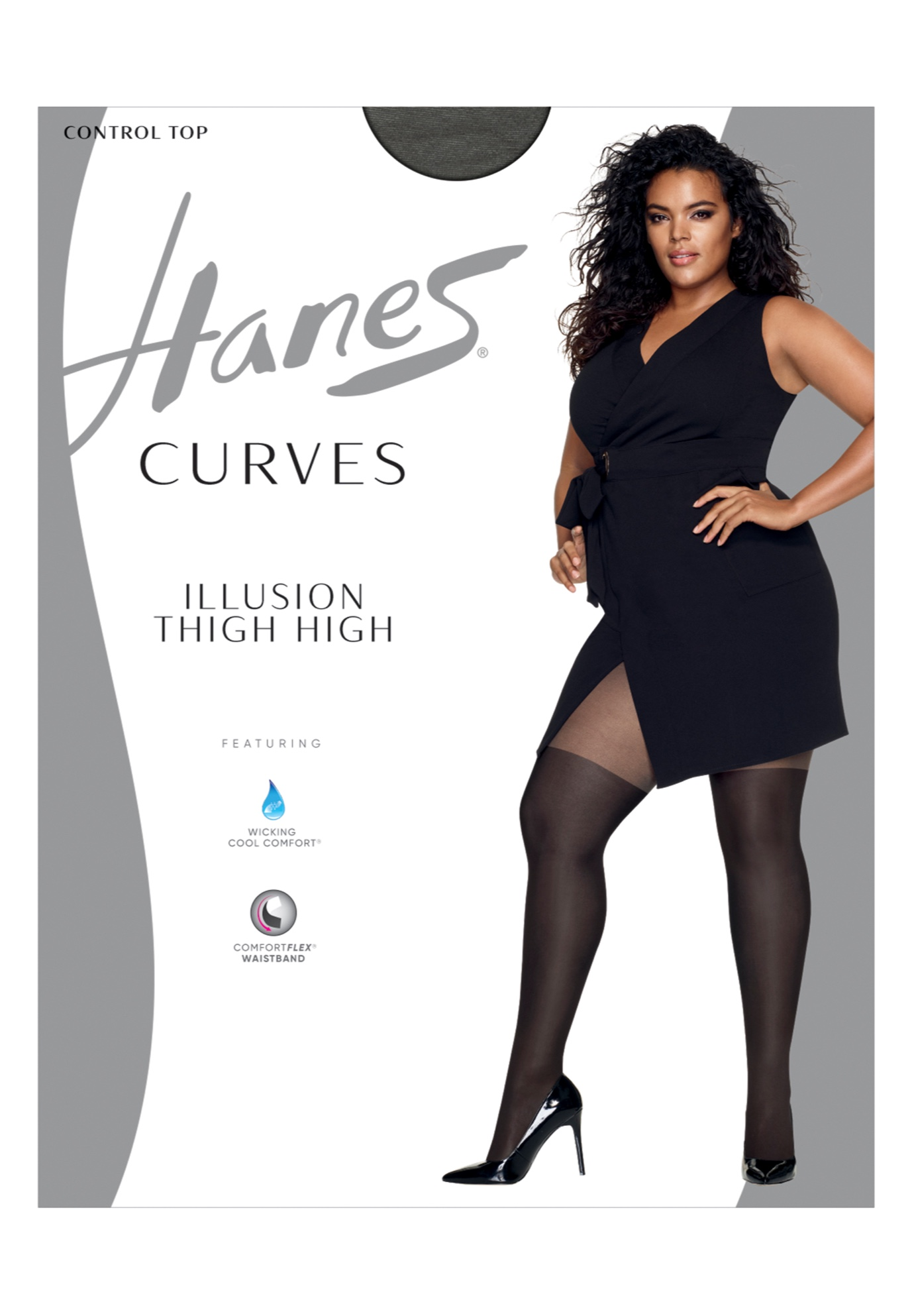 Hanes Curves Illusion Thigh Highs,