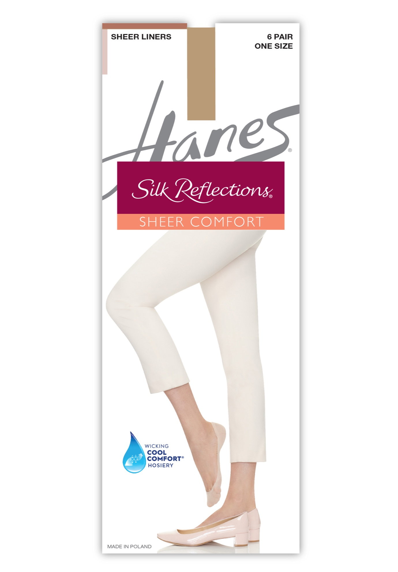 Hanes Silk Reflections Sheer Liners 6-Pack,