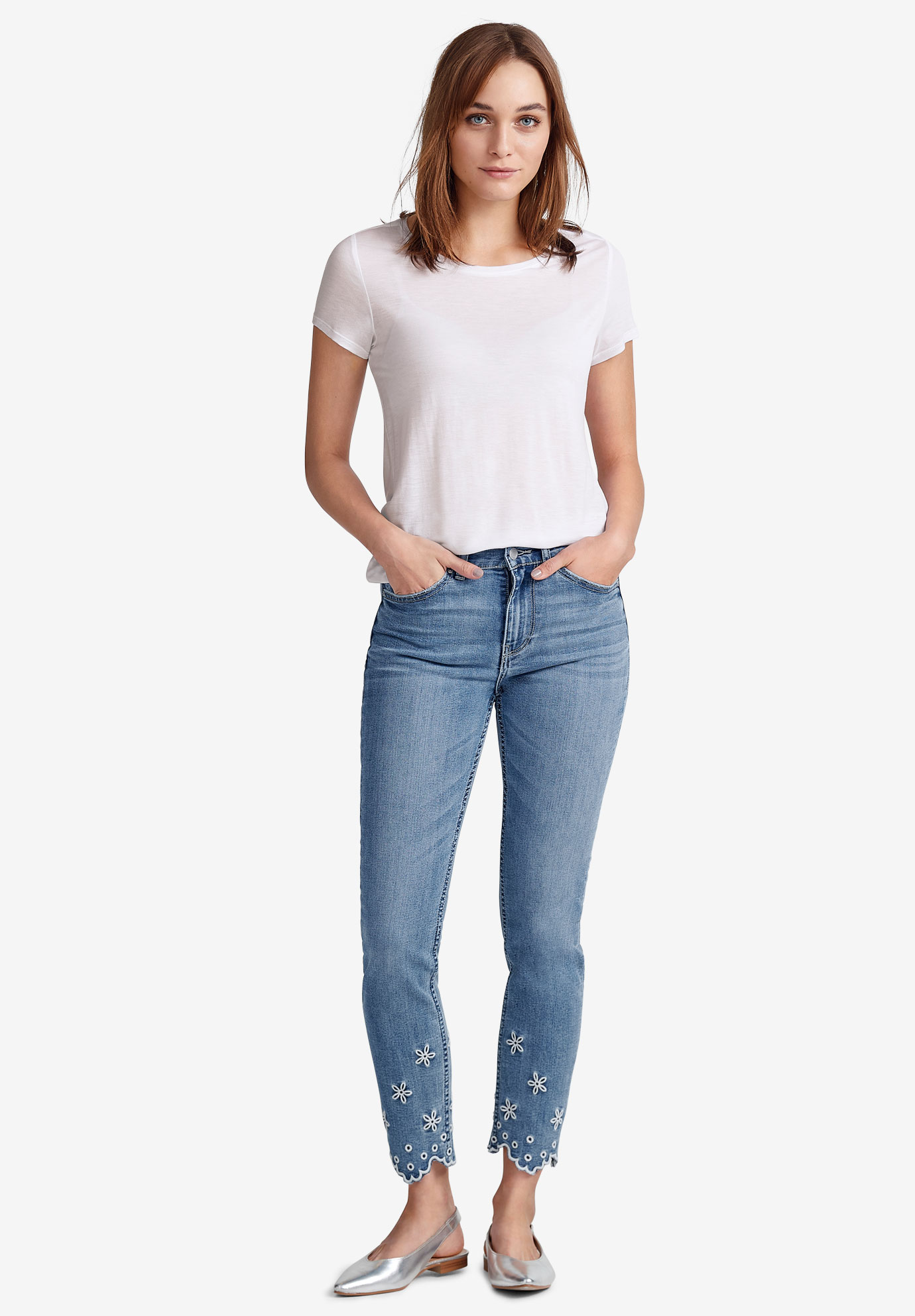 817ac3c81c1 Embroidered Scallop-Hem Jeans by ellos®