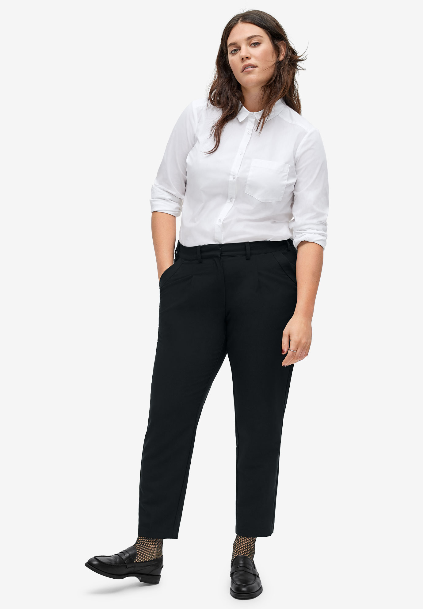 Cropped Pleat-Front Trousers by ellos®,