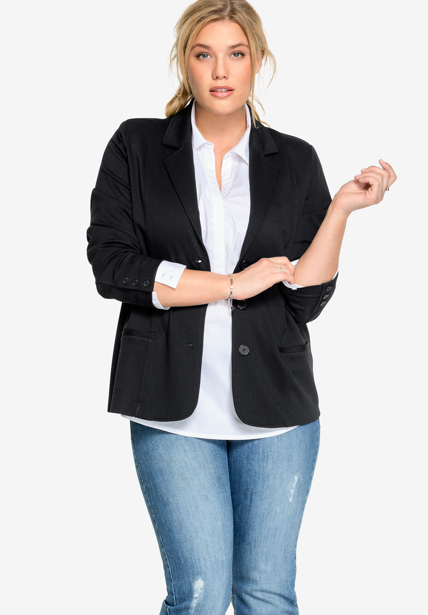 Ponte Knit Button-Front Blazer,