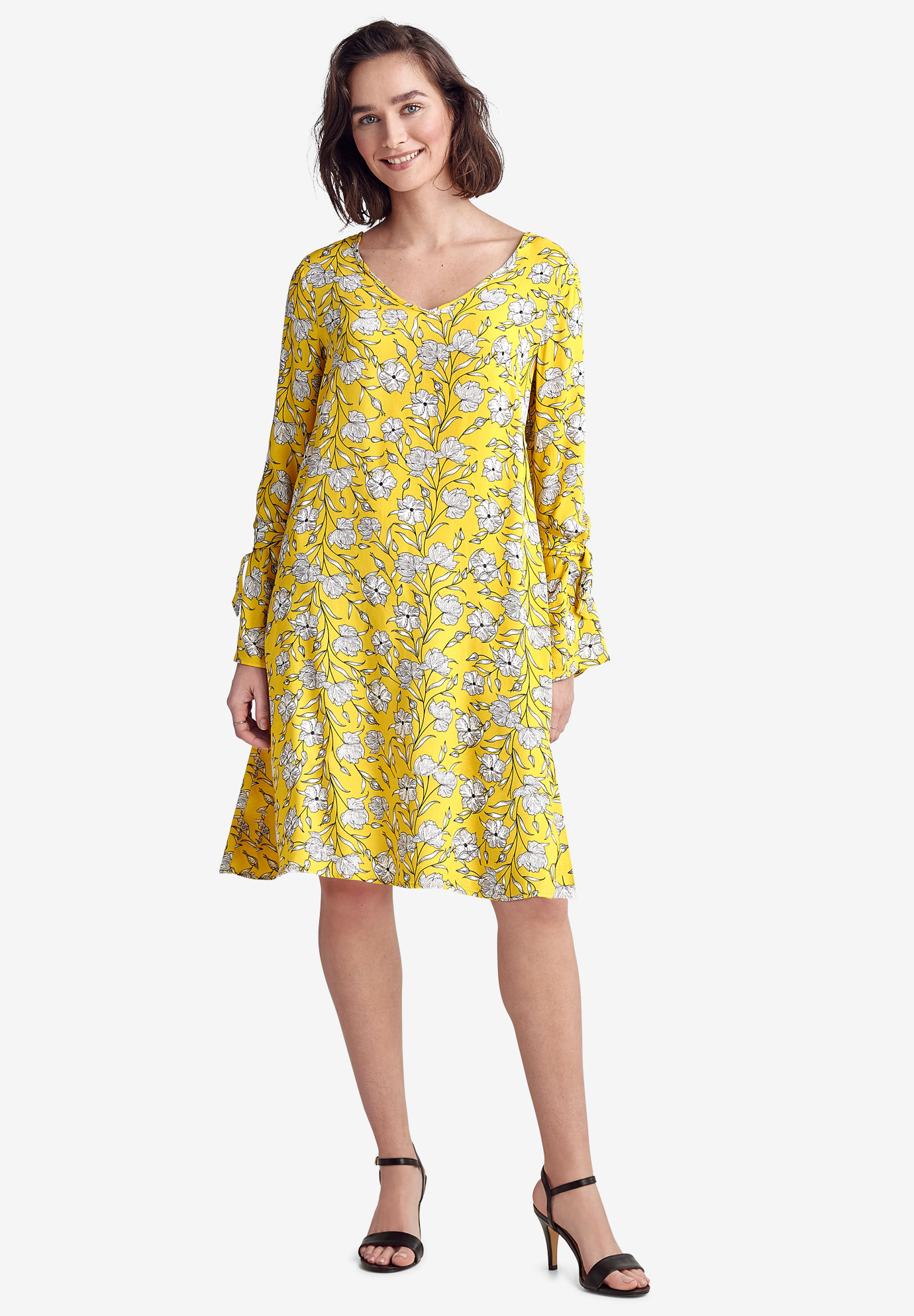 Tie-Sleeve A-Line Dress,