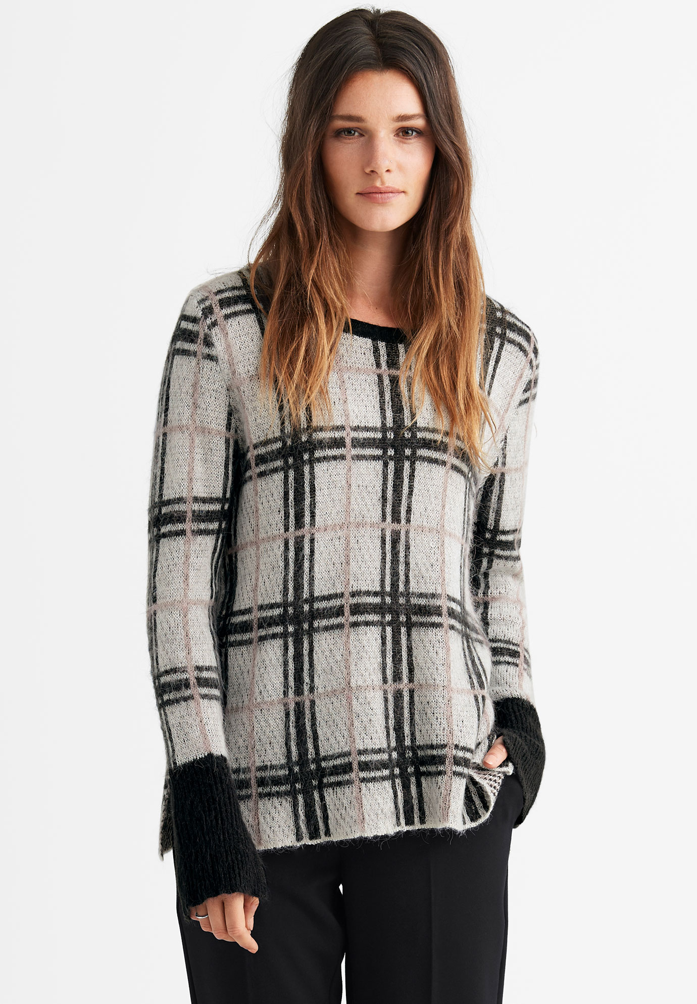 Plaid Boxy Pullover Sweater by ellos®,