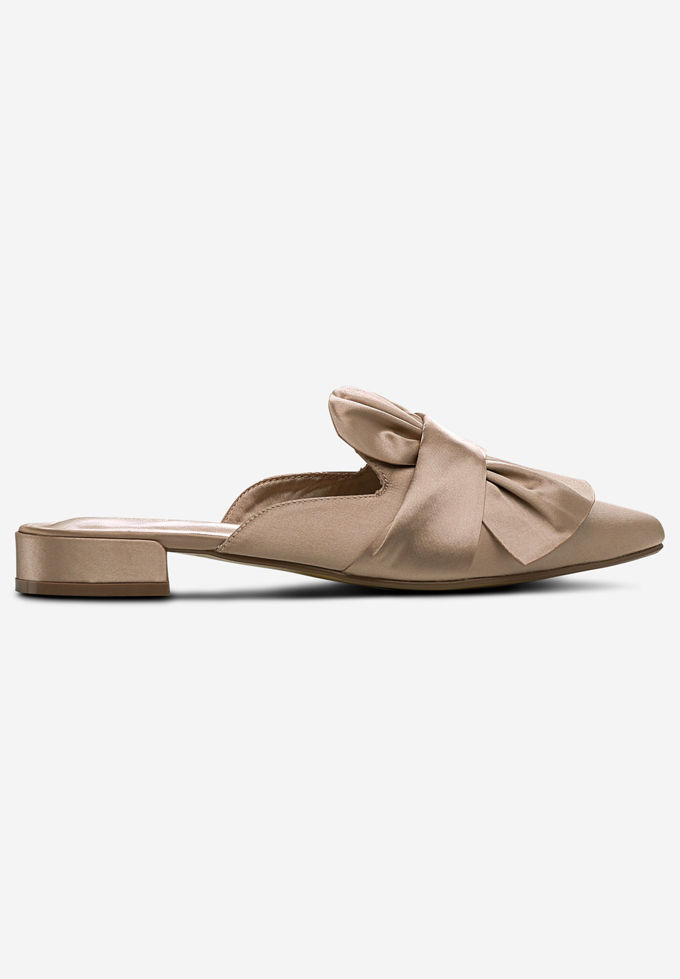 Satin Bow Mule Flats by ellos®,
