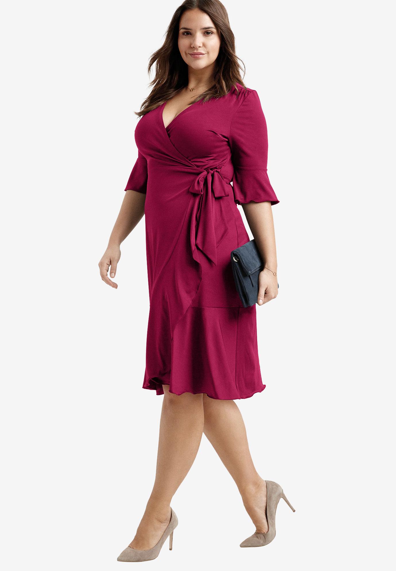 e505673c Ruffle Trim Wrap Dress by ellos®| Plus Size Party Dresses | Ellos
