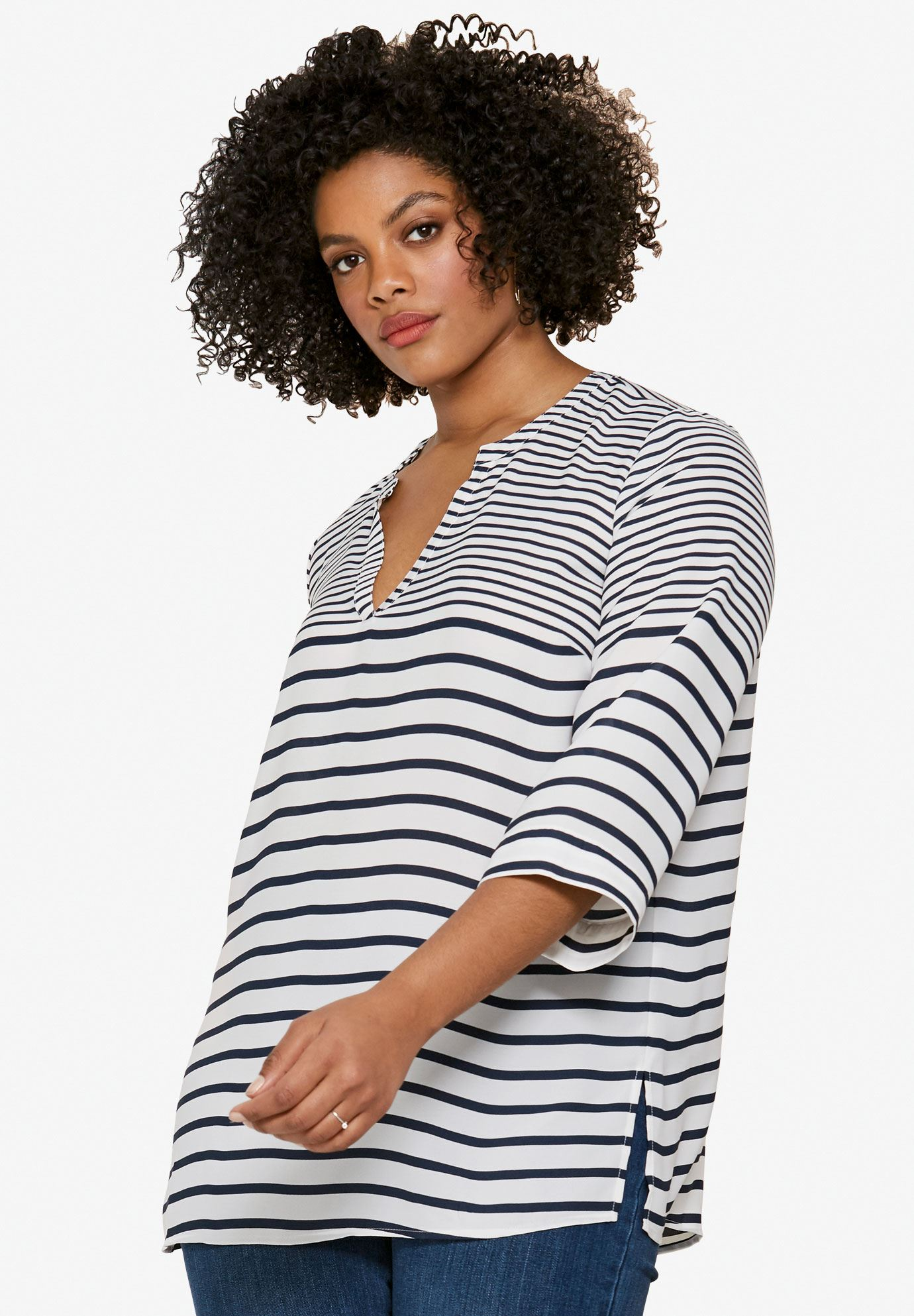 Oversized V Neck Sheer Blouse By Ellos Plus Size Tops Ellos