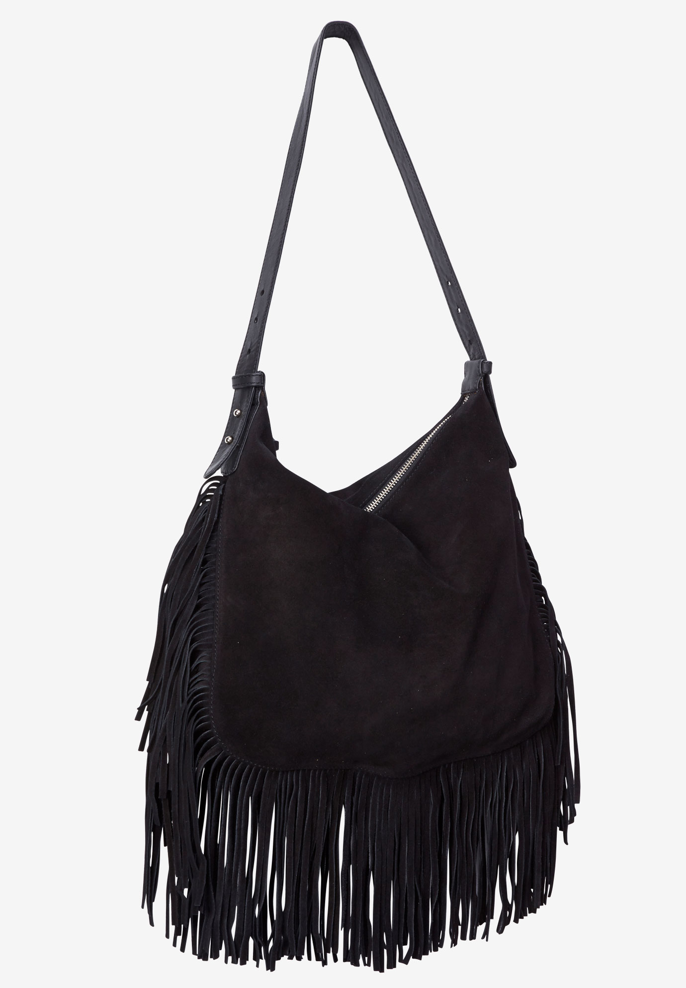 Suede Fringe Handbag By Ellos Black