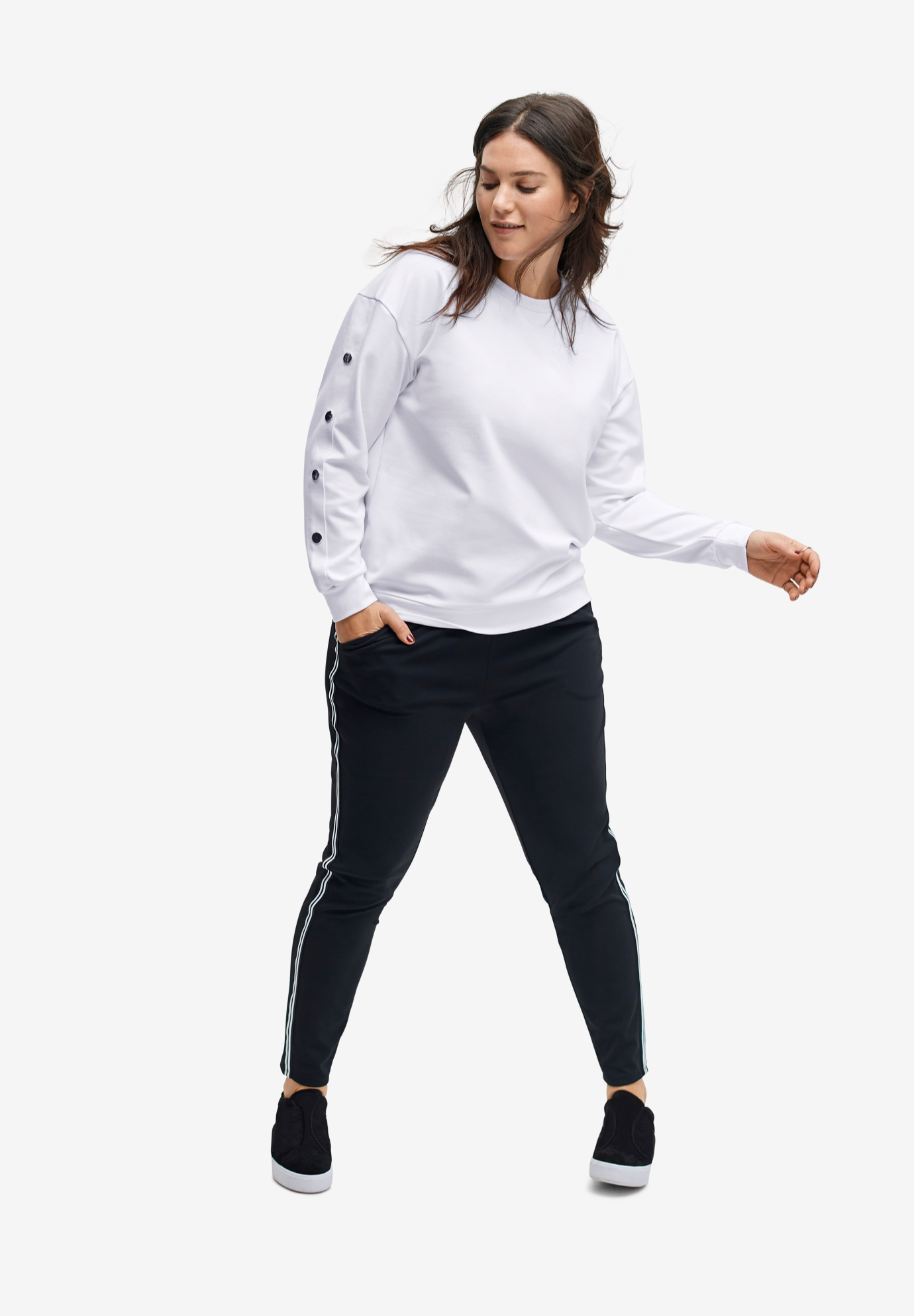 Snap Sleeve Sweatshirt by ellos®,