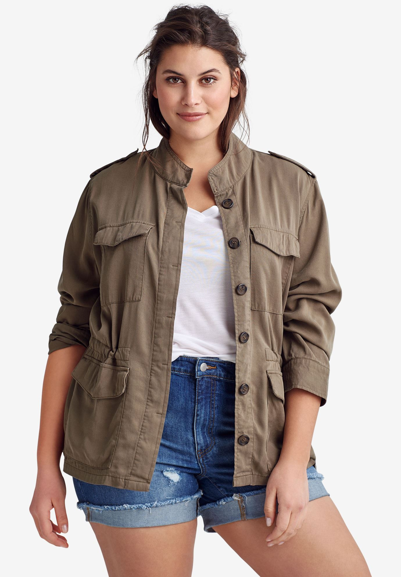 drapey military jacket by ellos plus size jackets blazers ellos