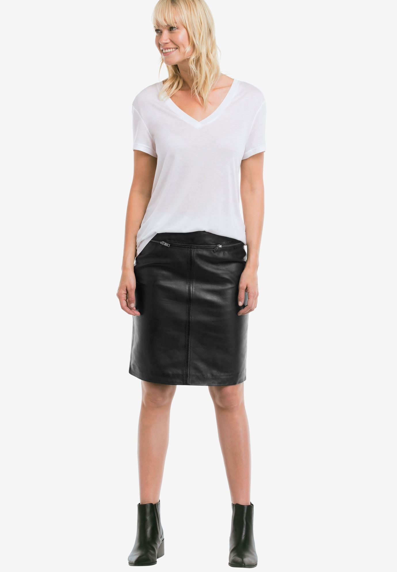 Zip Pocket Leather Skirt by ellos®| Plus Size Skirts | Ellos