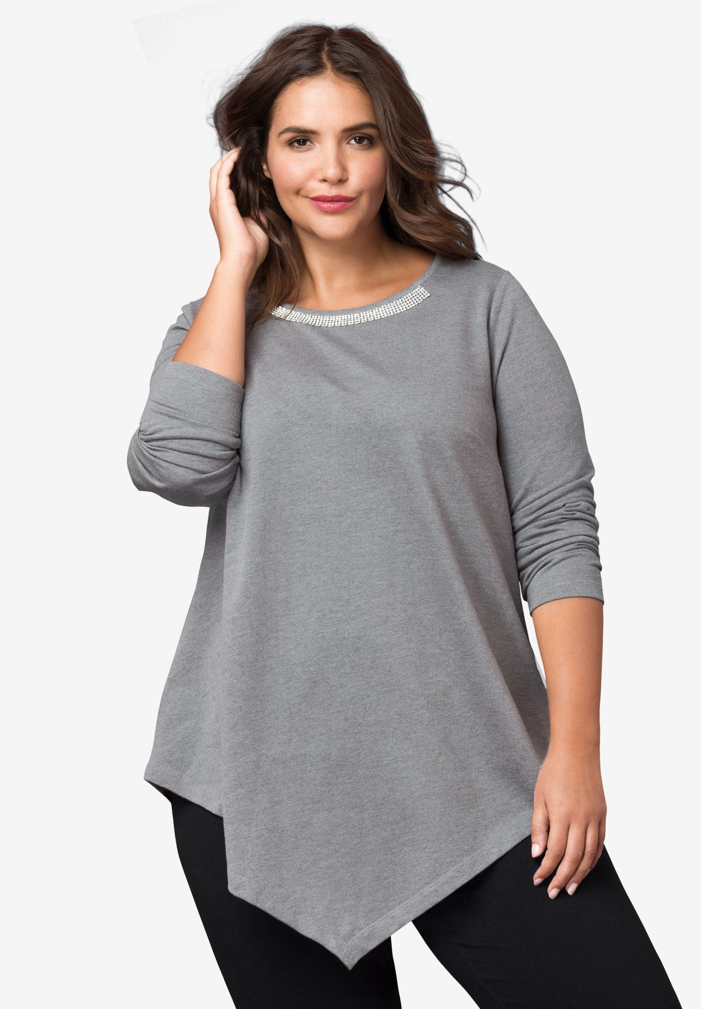 Embellished Point Hem Sweatshirt by ellos®,