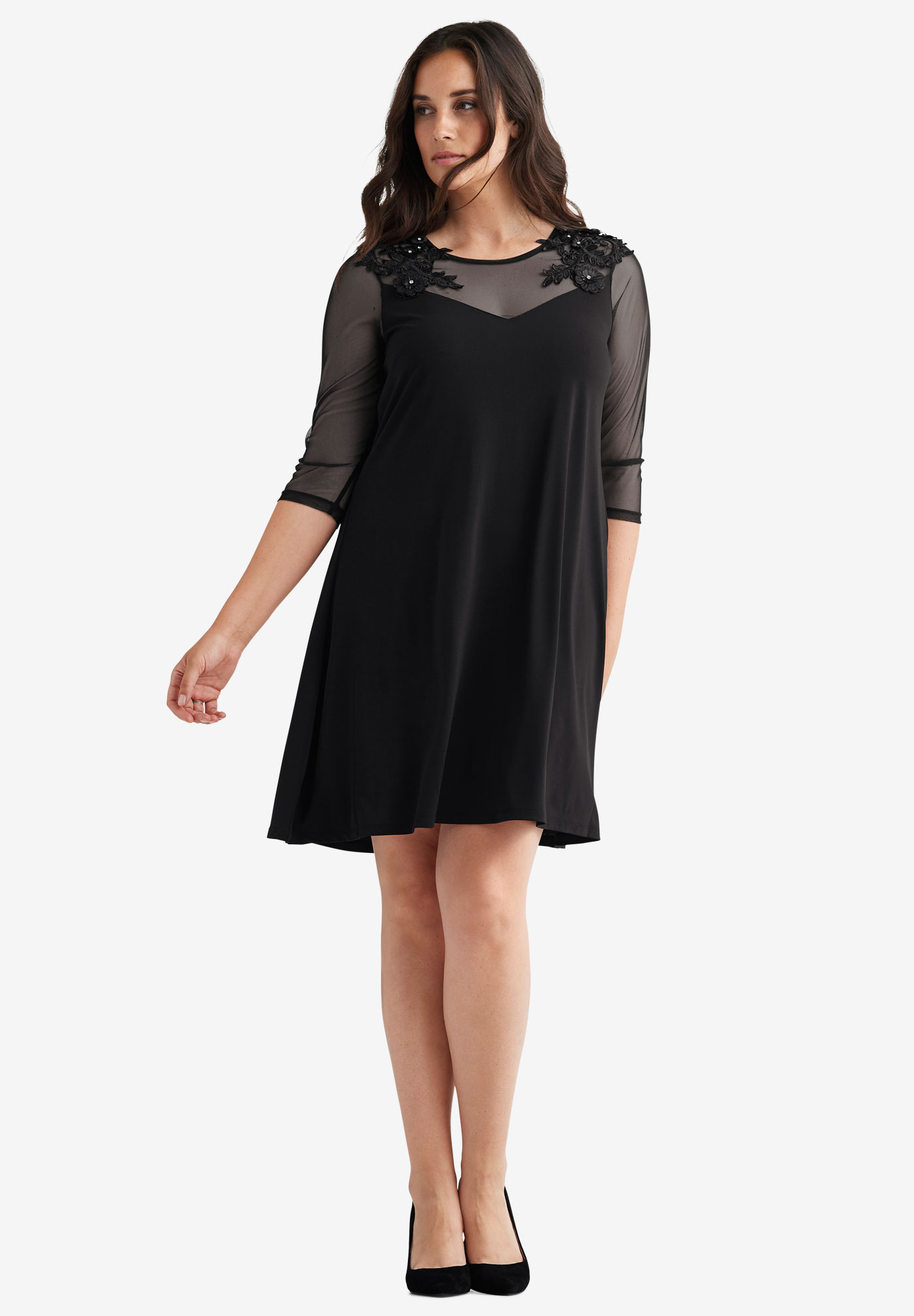 Embellished Mesh Yoke Dress by ellos®,
