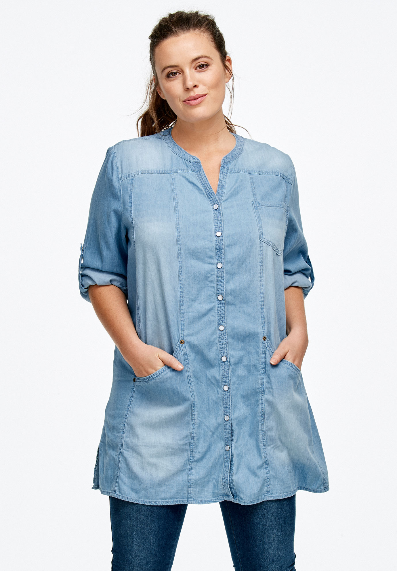 00157a272e5 Snap Front Denim Tunic by ellos®| Plus Size Tunics | Ellos