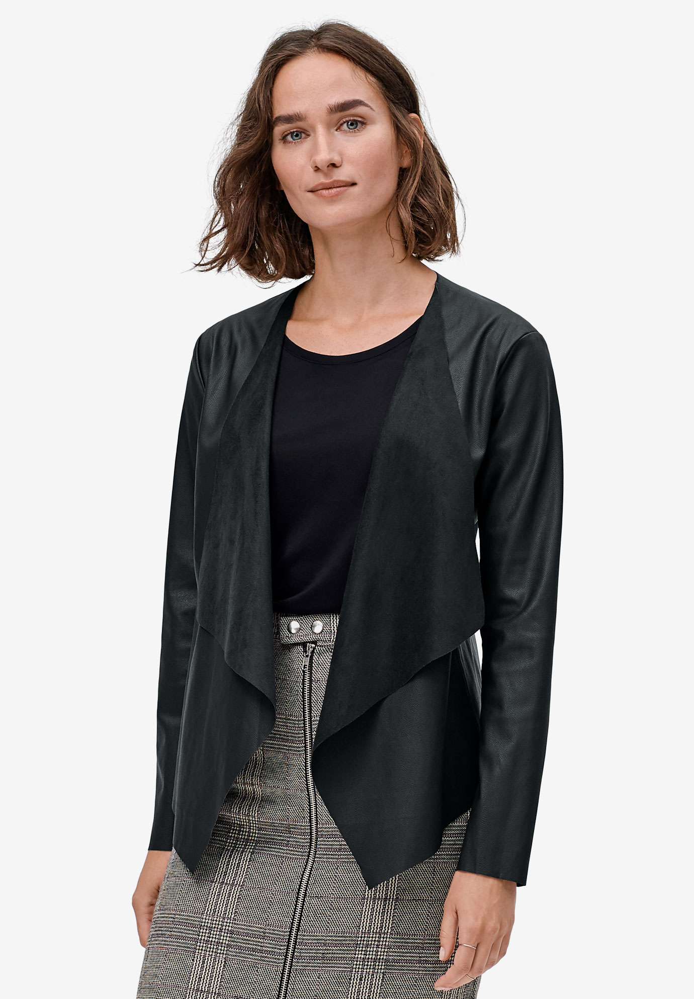 Faux Leather Cascade-Front Blazer by ellos®,