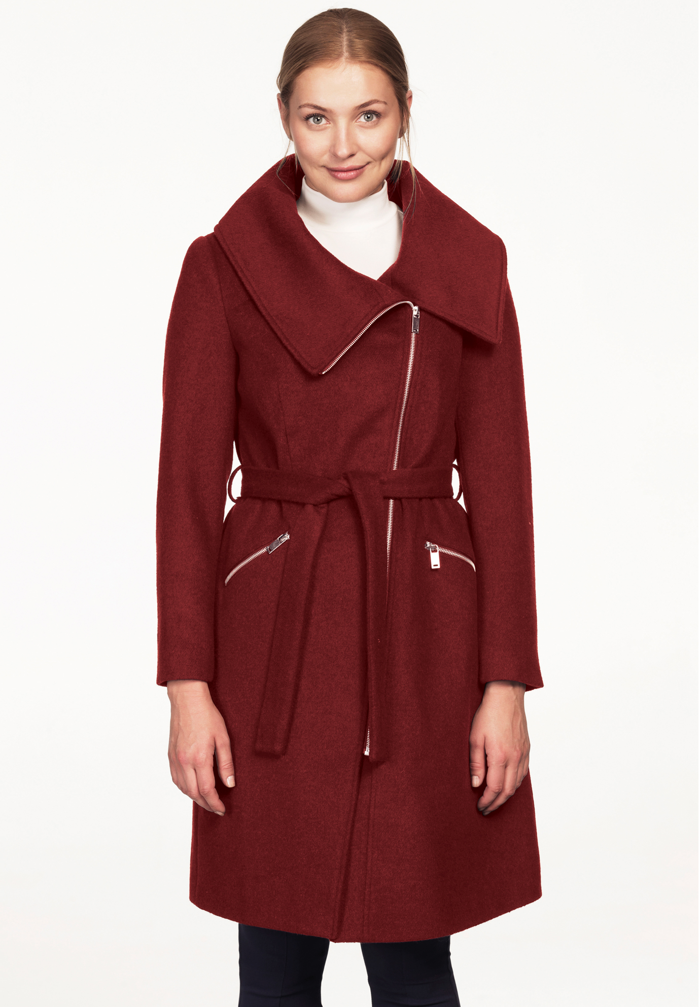 Asymmetrical Zip Belted Wool Blend Coat by ellos®,