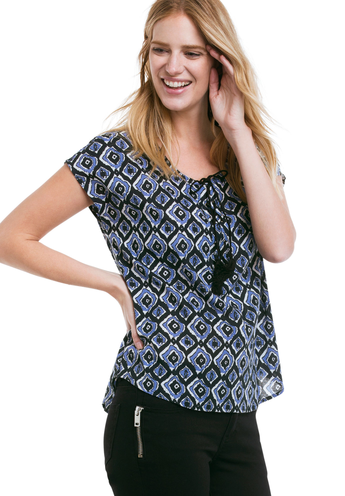Printed Cap Sleeve Blouse by ellos®,