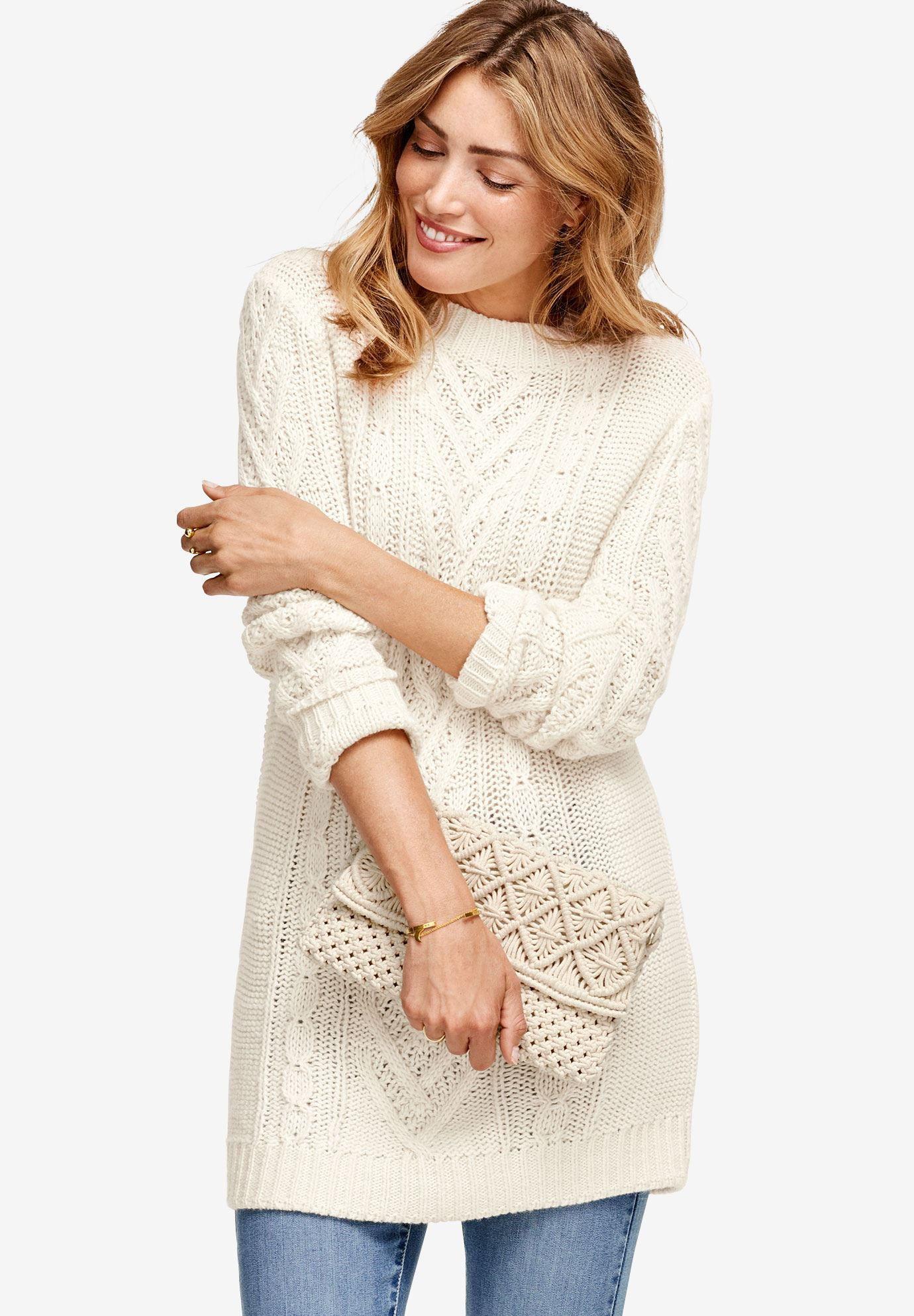 Pullover Cable Sweater Tunic By Ellos Plus Size Cardigans