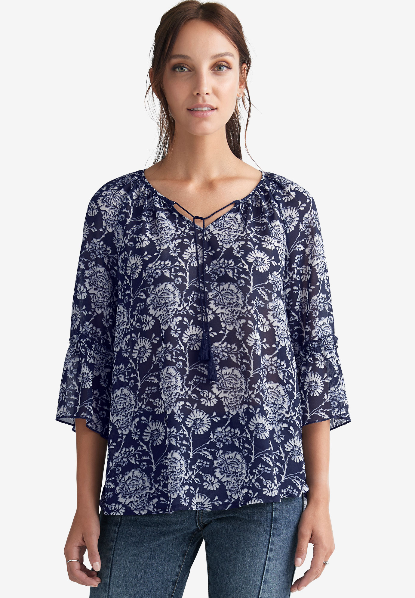 e62578c8bbbae9 Sheer Bell Sleeve Tunic by ellos®| Plus Size Tops | Ellos