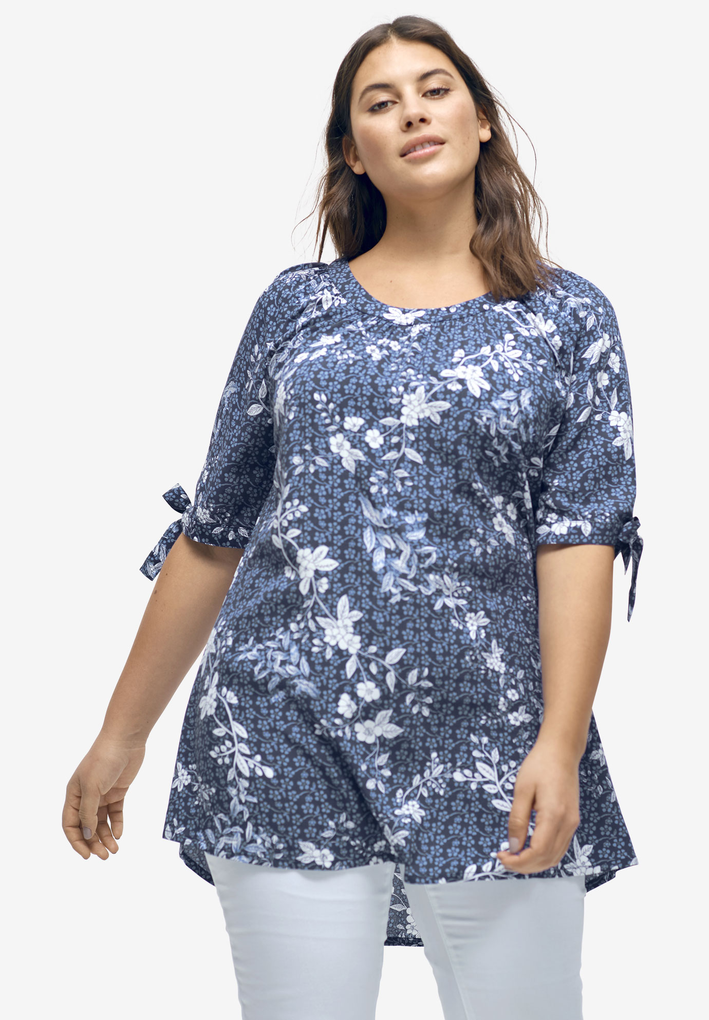 3cf47d98299e9c Tie-Sleeve Scoop Neck Tunic by ellos®| Plus Size Tunics | Ellos