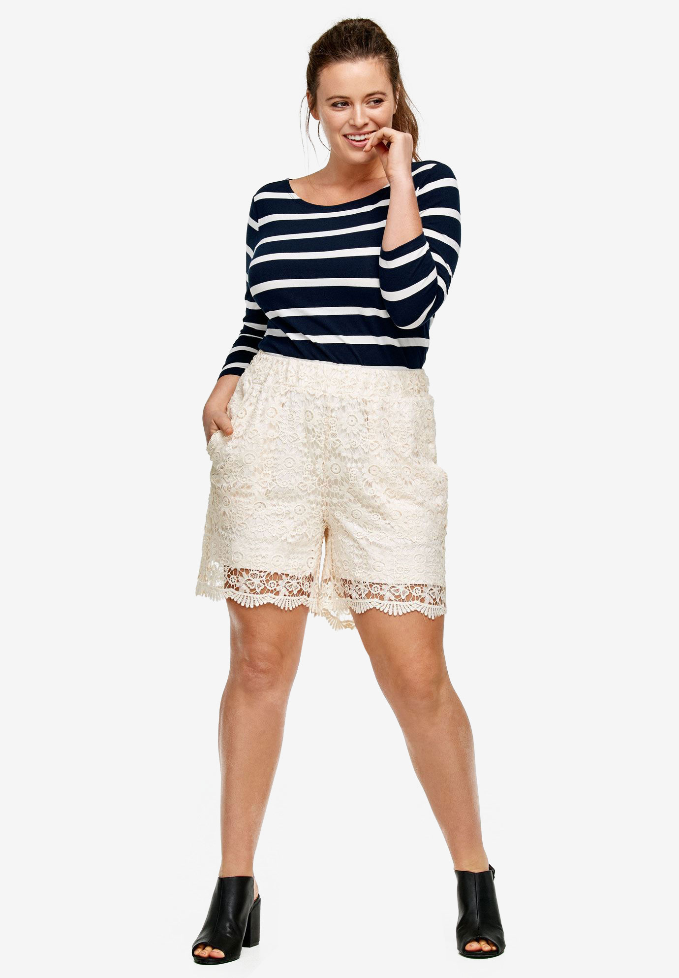 Crochet Lace Shorts By Ellos Plus Size Bottoms Ellos
