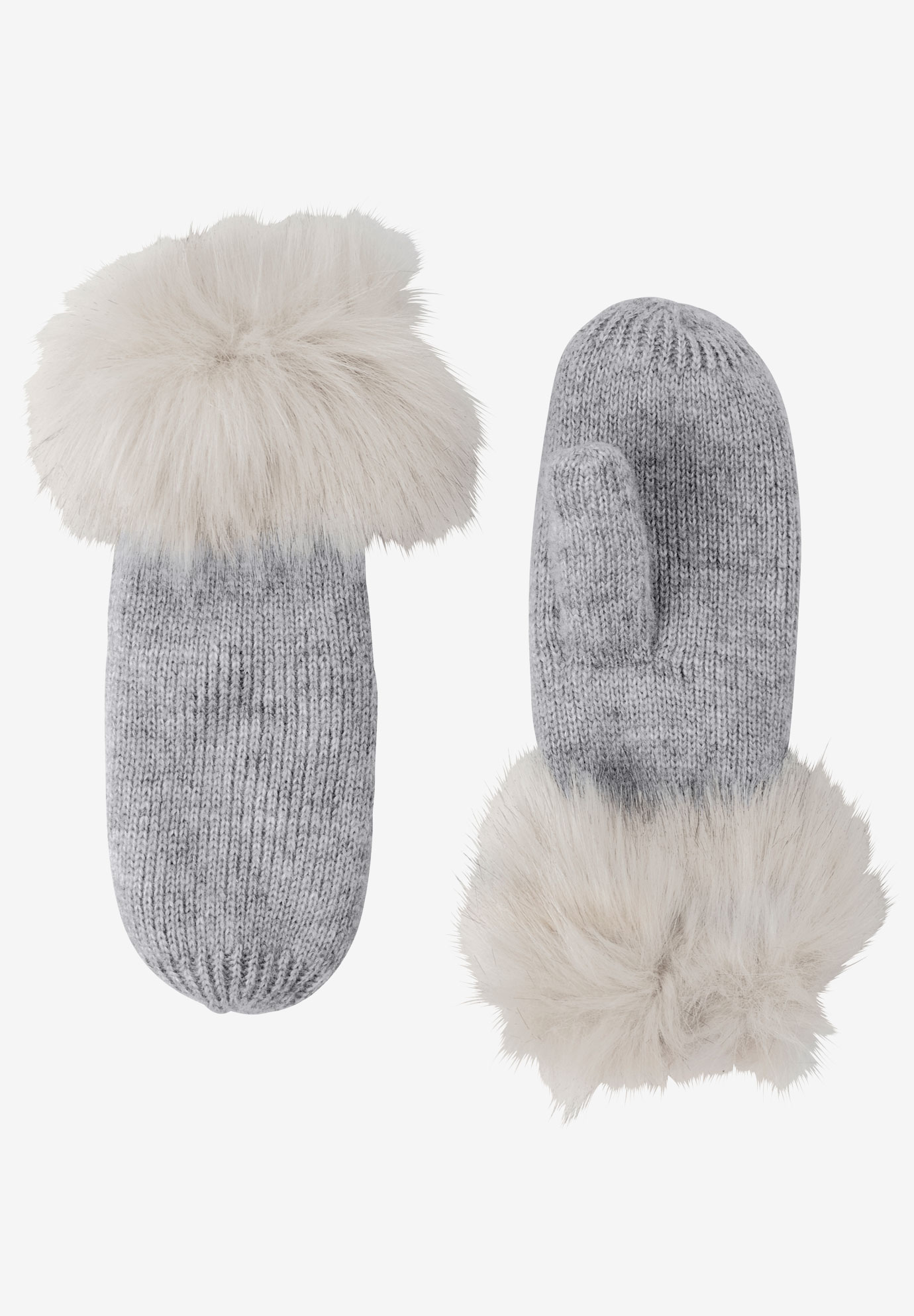 Rib Knit Mittens, HEATHER GREY