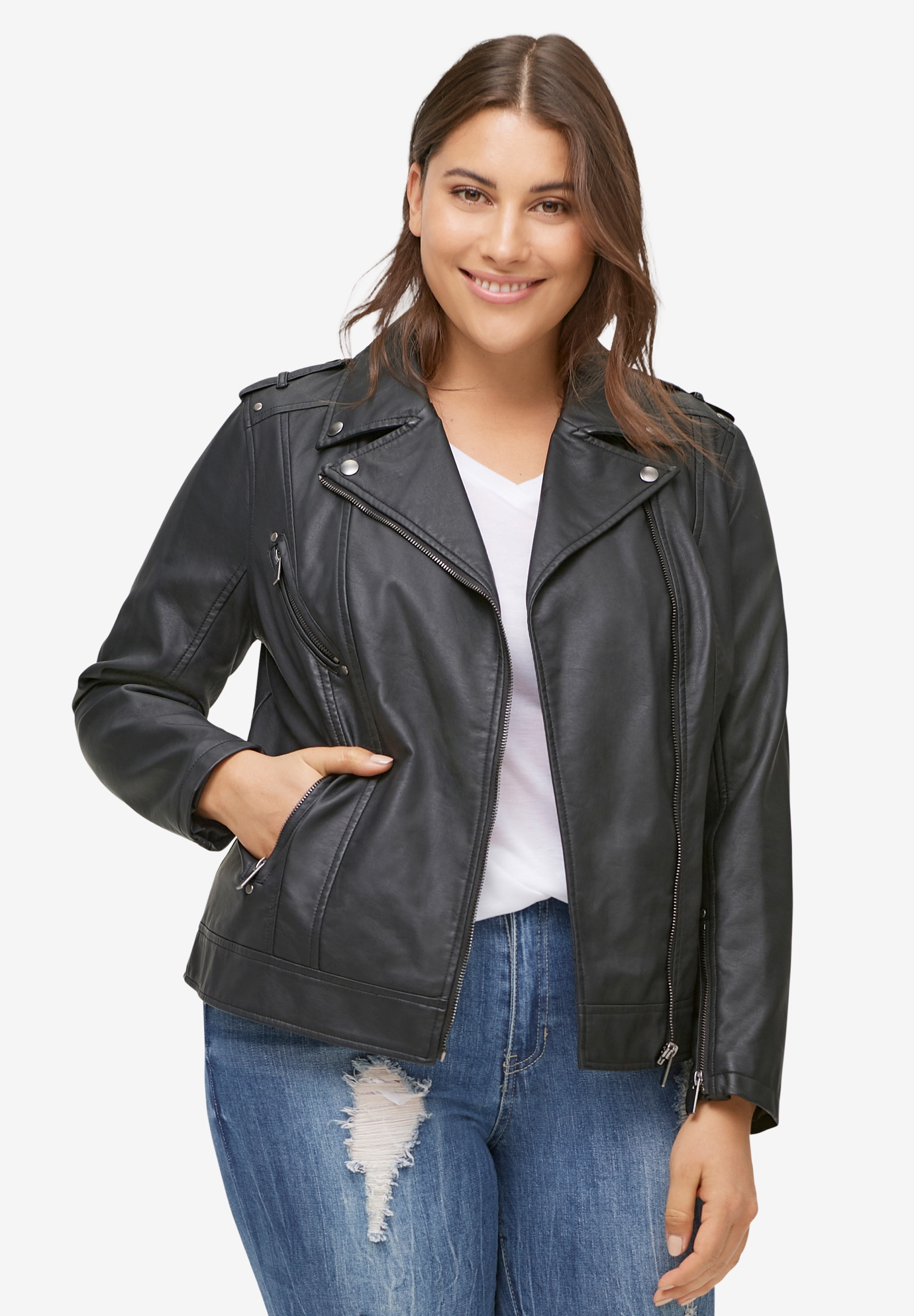 Faux Leather Moto Jacket by ellos®,