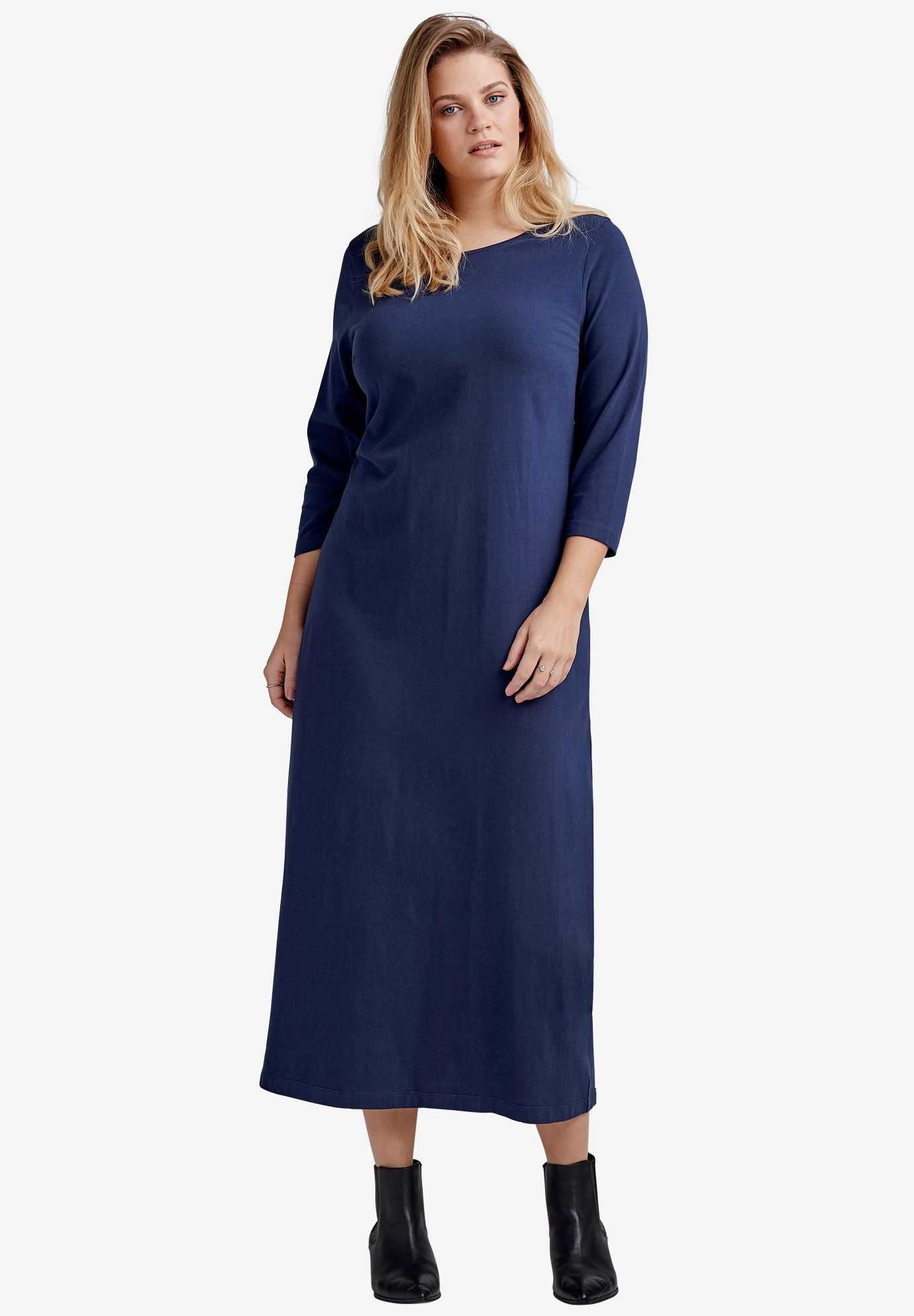 3 4 Sleeve Knit Maxi Dress By Ellos Plus Size All Dresses Ellos