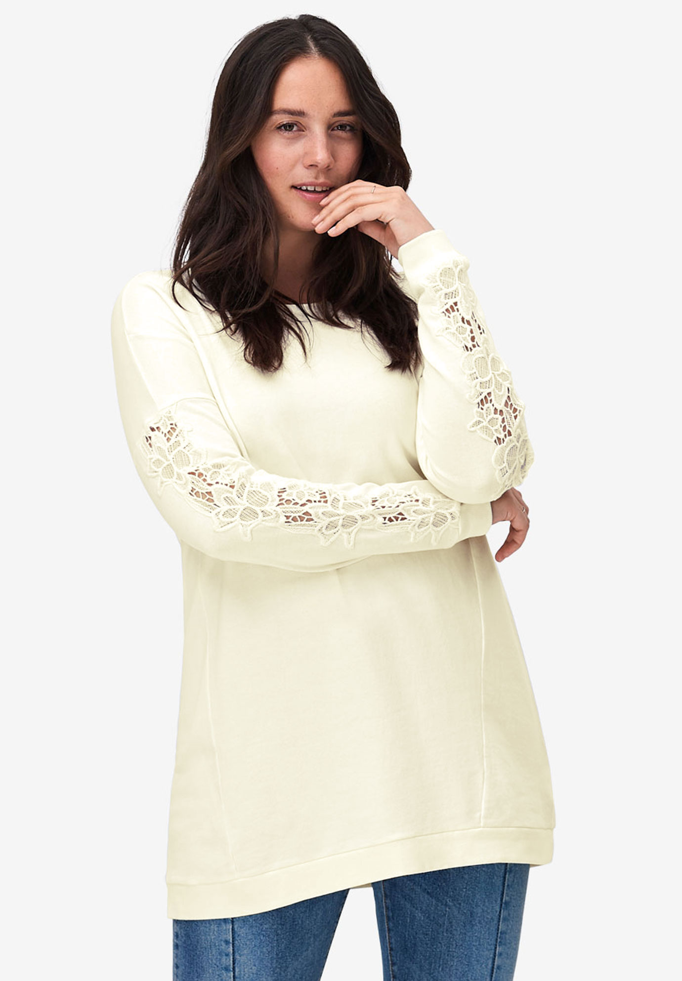f99e071e54cd5 Lace Sleeve Sweatshirt Tunic by ellos®