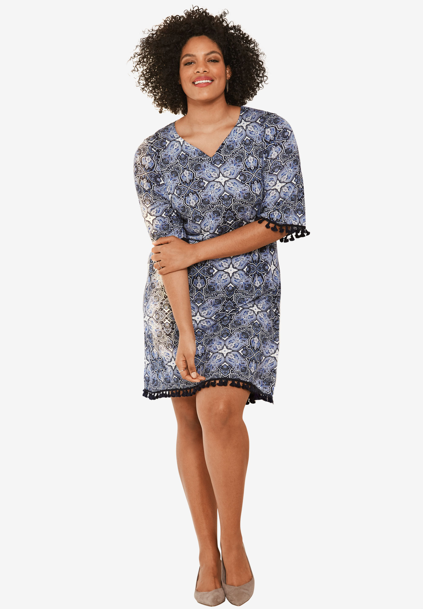 Seville Dress by ellos®, NAVY/WHITE PAISLEY PRINT