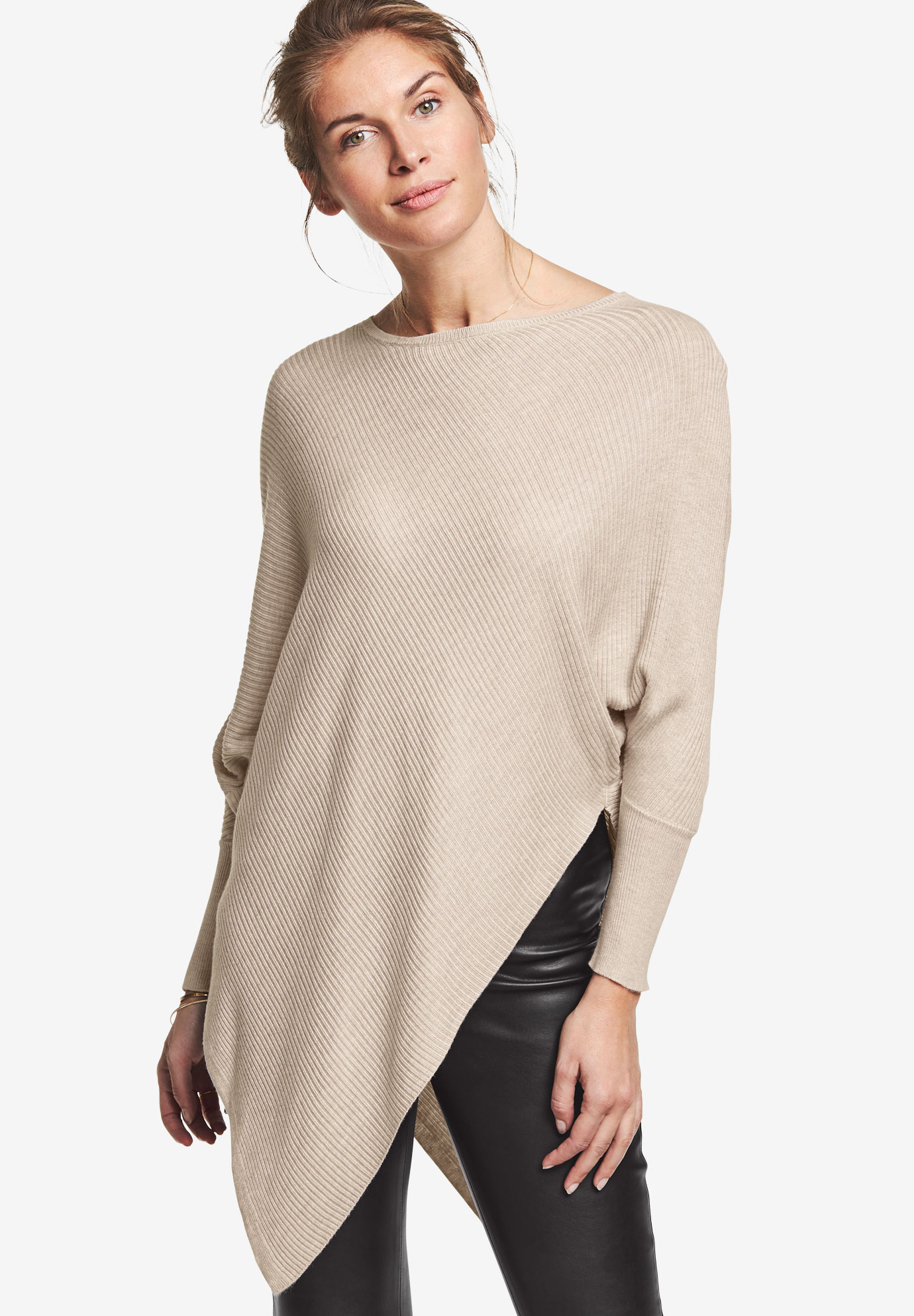 Lightweight Ribbed Poncho Sweater by ellos®,